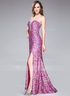 Trumpet/Mermaid Sweetheart Sweep Train Sequined Prom Dress With Beading Split Front (018047449)