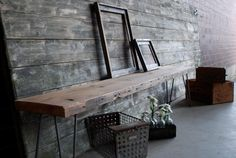 Industrial Bench with Mid-Century Steel Hairpin Legs, $245
