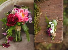 Enchanted Forest Wedding Inspiration // Love the mushrooms in the boutonniere!!