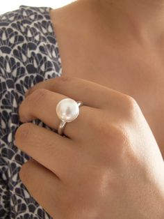 Classic white Pearl Ring Sterling silver and cultured pearl ring Size 10 Must have Gift for her Solitaire ring Pearl Rings, Pearl Bracelets, Pearl Jewelry, Pearl Necklaces, Sterling Silver Jewelry, Gold Jewelry, Jewelry Accessories, Jewelry Necklaces, Jewelry Design