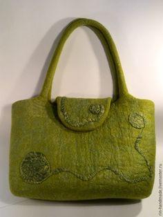 Купить Сумка валяная Оливковая роща - сумка на каждый день, сумка в подарок, салатовая сумка