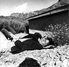 """thateventuality: """" Scan - """"George (obscured) and I under the southern sun"""": Klaus Voormann and George Harrison, Tenerife, Spring scanned from Warum spielst du Imagine nicht auf dem weißen. Ritchie Valens Plane Crash, Buddy Holly Plane Crash, Post Mortem, Unknown Pleasures, Famous Graves, Celebrity Deaths, Mixed Feelings, Tenerife, Macabre"""