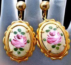 Vintage Guilloche Enamel Rose Earrings by TheJewelryLadysStore, $24.00