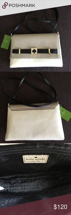 """NWT Kate Spade Houston Street Crossbody NWT Kate Spade Houston Street Crossbody. Cream/Black and Taupe Leather. Inside is black and has 1 zip compartment and 1 regular compartment. Approx 10.5"""" x 7"""". kate spade Bags Crossbody Bags"""