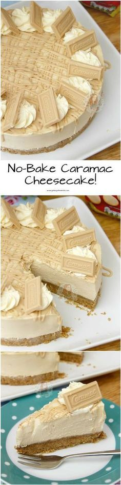 No-Bake Caramac Cheesecake! ❤️ An Easy, Delicious, Caramelly and Chocolatey … No-Bake Caramac Cheesecake! ❤️ An Easy, Delicious, Caramelly and Chocolatey Cheesecake – a Caramac Filling with a Buttery Biscuit Base and delicious decorations! Yummy Treats, Delicious Desserts, Sweet Treats, Yummy Food, Caramac Cheesecake, No Bake Desserts, Dessert Recipes, Baking Desserts, Kolaci I Torte