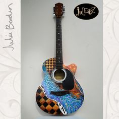 "Hand Painted Guitar by artist Julie Borden, owner of Juleez. ""Peacock Paradise"" Custom Commissioned Guitar Fender Acoustic Electric Guitar www.juleez.com"