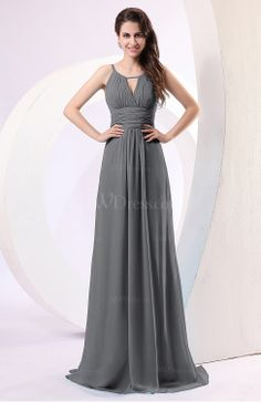 Pewter Plain Column Scoop Zipper Chiffon Ruching Evening Dresses Uwdress