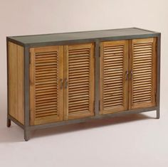 Double Shutter Doors Holbrook Sideboard: Brown - Wood by World Market Industrial Chic, Industrial Furniture, Vintage Industrial, Furniture Vintage, Vintage Decor, Shutter Doors, Wooden Cabinets, Bar Cabinets, Cupboards