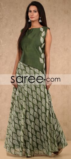 Green Cotton Silk Floor Length Printed Kurti