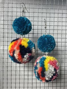 Handmade Pom Pom Earrings and Goods in East Tennessee by EclecticElephantLtd Diy Yarn Earrings, Crochet Earrings, Crafts To Do, Hand Crafts, How To Make A Pom Pom, Homemade Jewelry, Types Of Yarn, Jewelry Making Beads, Etsy Store