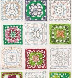 The ultimate granny square diagrams collection – Artofit Crochet Bedspread Pattern, Crochet Motif Patterns, Granny Square Crochet Pattern, Crochet Blocks, Crochet Diagram, Crochet Chart, Crochet Squares, Granny Squares, Crochet Granny