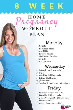 8 Week Home Pregnancy Workout Plan. All exercises safe and using body weight or dumbbells. http://michellemariefit.com/monthly-home-pregnancy-workout/