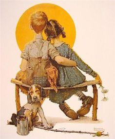 Sunset(1926)  ノーマン・ロックウェルの作風を一言で表すとすればまさに『理想の思い出』。彼は誰もが心の中に思い描く古き良き時代を、たっぷりの愛情にひとさじのユーモアを加えてキャンバスに描き出すのです。