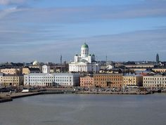 The Lutheran Cathedral in Helsinki, Finland, seen from the South Harbor.