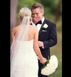 Grooms' first look at his bride          #slide=2007793 this is sooooo sweet n adorable