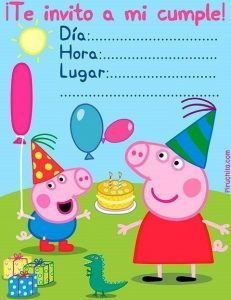 Invitación de cumpleaños Peppa Pig GRATIS imprimible