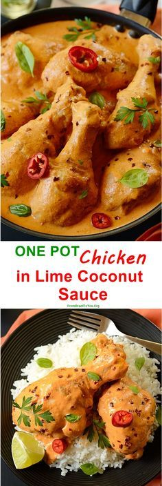 ONE POT Chicken in Lime Coconut Sauce made from browned chicken drumsticks in vegetable oil, stewed in a lime coconut milk sauce. So creamy, comforting, and super easy to prepare. It can be served with rice or noodles.