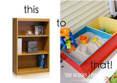 DIY sandbox made from a bookcase. The Homes I Have Made: Color-Block Sandbox {Wayfair DIY Challenge! Decoration Creche, Sand Pit, Diy Décoration, Easy Diy, Clever Diy, Outdoor Play, Outdoor Games, Diy For Kids, Home Projects