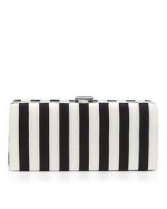 Kate Landry Social Kate Landry Stripe Box Clutch - Black/White