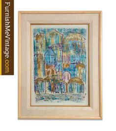 """Mixed media painting pencil signed by the artist, """"Venezia"""", """"S. Firak."""" The image was presented by the Harris Strong gallery with label on reverse. Framed and matted, no glass or acrylic pane.   #art #furnishmevintage #vintageart #homedecor #interiordesign"""