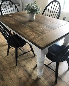 This beautiful, custom Farmhouse Table is made directly from our shop! The one pictured is x with breadboard ends, stained in dark walnut! Our tables are one solid piece! Refinishing Kitchen Tables, Painted Kitchen Tables, Farmhouse Dining Room Table, Farmhouse Kitchen Tables, Dinning Room Tables, Rustic Table, Wood Tables, White Farmhouse Table, Farm Tables