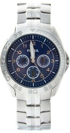 Capri Jewelers Arizona  ~  www.caprijewelersaz.com #Fossil #Watch , AM4428 Men's Silver Tone Stainless Steel Bracelet Blue Dial Multifunction Watch