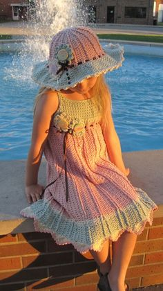 Crochet girls dress and hat pattern