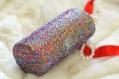 Do it yourself Transformation - Jimmy Choo sunglasses case into a crystal covered evening clutch!