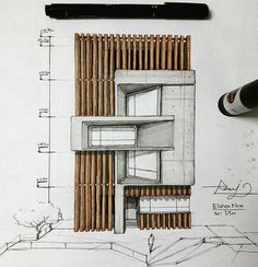 Interesting Find A Career In Architecture Ideas. Admirable Find A Career In Architecture Ideas. Sketchbook Architecture, Art Et Architecture, Architecture Concept Drawings, Architecture Portfolio, Architecture Details, Design Exterior, Facade Design, Wood Concrete, Portfolio D'architecture