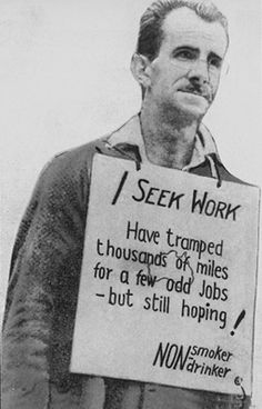 The Great Depression: Artist rendering of homeless man seeking work in a collapsed economy; the working class in the United States