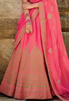 Real attractiveness will come out through the dressing style and design with this rose pink art silk a line lehenga choli. Ethnic Fashion, Indian Fashion, Girl Fashion, Indian Attire, Indian Wear, Indian Dresses, Indian Outfits, Collection Eid, Simple Sarees