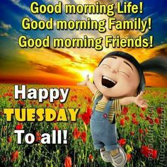 Happy Tuesday To All! Happy Tuesday To All! Good Morning Tuesday Wishes, Cute Good Morning Quotes, Happy Tuesday Quotes, Tuesday Humor, Good Morning Friends, Good Morning Messages, Good Morning Good Night, Good Morning Images, Quotes Friday