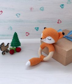 Fox crochet rattle Eco baby toy Wood teether ring Organic | Etsy