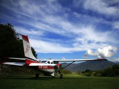 Mission Aviation Fellowship (MAF) airplane preparing for takeoff.