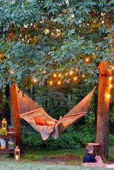 Magical outdoor space, hammock, lights, lanterns