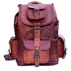 840795d02ee New Large Genuine Goat Leather Backpack Rucksack Travel Laptop Messenger Bag