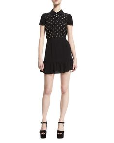 50eda6559f0d Shop Embellished-Bodice Mini Dress, Nero from REDValentino at Neiman Marcus  Last Call, where you'll save as much as on designer fashions.