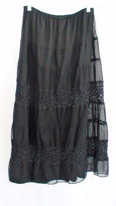 Dressbarn Gothic Sheer Black Skirt Women's 14/16W #dressbarn #FullSkirt