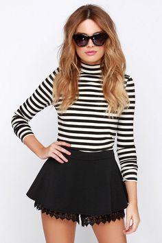 Others Follow Kaya - Black Shorts - Lace Shorts - $37.00
