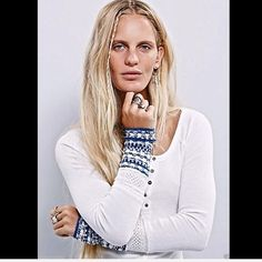 """Free People white Ski Lodge Fancy Cuff Thermal S Free People We The Free white blue ( ivory combo) Ski Lodge Fancy Cuff Thermal Top Classic FP stretch thermal with button placket, body-hugging fit, and hand-touched cozy knit cuffs.  New With Tags  *  Size:  Small  *We The Free   *57% Cotton *38% Polyester *5% Spandex  *Exclusive of trim *Machine Wash Cold *Import  Measurements for Small: Bust: 27.5"""" relaxed Length: 27.25"""" Sleeve Length: 27 .75"""" Free People Tops"""