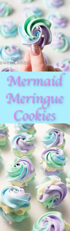 Get the recipe for Mermaid Meringue Cookies here: http://www.sweetambs.com/recipe-2/mermaid-meringue-cookies/