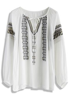 57c0f0af982 On Your Roam Time Stitch Top in White - New Arrivals - Retro