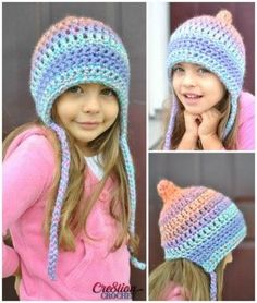 Crochet this adorable pixie bonnet style hat in 3 sizes with Lion Brand Unique! Free pattern by Crochet calls for 1 ball of Unique in Mirage and a size M/N mm) crochet hook. Crochet Kids Hats, Crochet Cap, Crochet Girls, Crochet Beanie, Crochet Clothes, Crochet Stitches, Crochet Hooks, Free Crochet, Knitted Hats