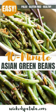 These Asian Green Beans are crispy tangy spicy and highly addictive! These Asian Green Beans are crispy tangy spicy and highly addictive! Asian Style Green Beans, Chinese Green Beans, Spicy Green Beans, Sauteed Green Beans, Garlic Green Beans, Green Style, Paleo Recipes Easy, Spicy Recipes, Asian Recipes