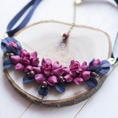 Navy Blue Statement Necklace with Magenta Flowers, Bib Necklace, Flower Jewelry