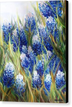 Bluebonnets Canvas Print featuring the painting Bluebonnet Barrage by Patti Gordon