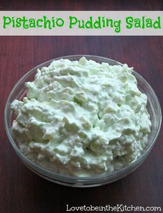 Use sugar free pistachio pudding. Pistachio Pudding Salad- Made with pistachio pudding mix, pineapple, cottage cheese and cool whip! You can add chopped pecans and marshmallows too. Pistachio Pudding Salad, Pistachio Dessert, Pistachio Recipes, Pistachio Fluff, Cool Whip, Jello Recipes, Salad Recipes, Pudding Recipes, Recipies