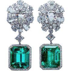 Diamond Cluster Colombian Emerald Drop Earrings ($485,000) ❤ liked on Polyvore featuring jewelry, earrings, green, earrings jewelry, green jewelry, emerald jewellery, round earrings and emerald earrings