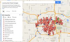 Crowdsourced Lansing Board of Water and Light power outage map, more than a week after an ice storm hit Lansing, Michigan.