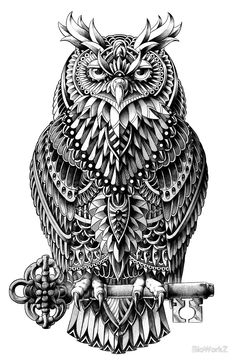 Great Horned Owl by BioWorkZ - A decorative black and white illustration of a great horned owl perching on a key.